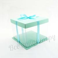 Коробка для торта 21х21х24 см. Голубая