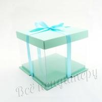 Коробка для торта 26х26х24 см Голубая