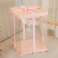 Коробка для торта 26х26х32 см Персиковая