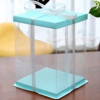 Коробка для торта 30х30х35 см. Голубая