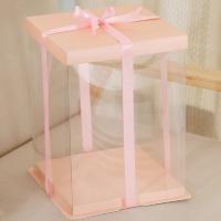 Коробка для торта 30х30х35 см. Бежево-розовая