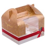 Коробка на 4 капкейка с красным бантиком