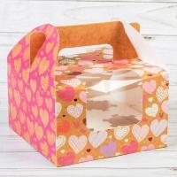 Коробка на 4 капкейка с сердечками