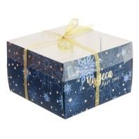 Коробка на 4 капкейка с пластиковой крышкой темно-синяя