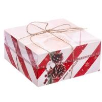 Коробка на 4 капкейка с прозрачной крышкой красные полоски