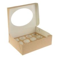 Коробка на 12 капкейков с окном крафт