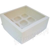 Коробка на 9 капкейков  с окном белая