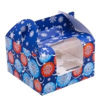Коробка на 4 капкейка Темно-синяя