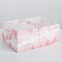 """Коробка на 6 капкейков с прозрачной крышкой """"Розовое кружево"""""""