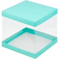 Коробка для торта 26х26х28 Бирюзовая