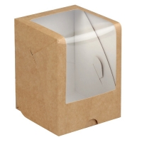Коробка на 1 капкейк крафт с окном