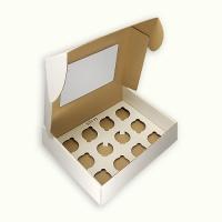Коробка на 12 капкейков с окном Усиленная