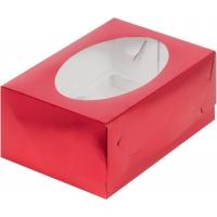 Коробка на 6 капкейков с окошком КРАСНАЯ