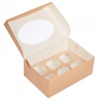 Коробка на 6 Капкейков с окном Крафт/Белая