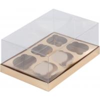 Коробка на 6 капкейков Премиум с прозрачной крышкой Золотая