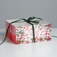 """Коробка на 4 капкейка с пластиковой крышкой """"С Новым годом!"""""""