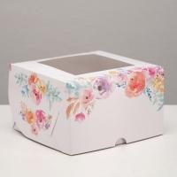 Коробка на 4 капкейка с окном Цветы
