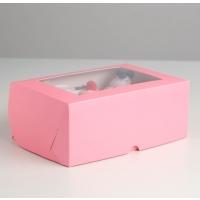 Коробка на 6 капкейков с окном Розовая