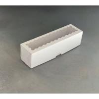 Коробка для макаронс на 6 шт 200х55х55 мм белая с окном