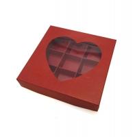 Коробка на 9 конфет с окошком (сердце) красная