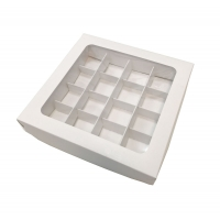Коробка на 16 конфет с прозрачной крышкой белая