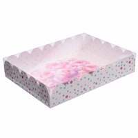 Коробка с прозрачной крышкой 30х40х8 см Цветы