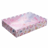 Коробка с прозрачной крышкой 30х40х8 см Сладости