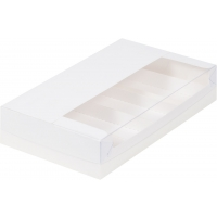 Коробка для 5 эклеров/эскимо Белая с пластиковой крышкой 25х15х5 см