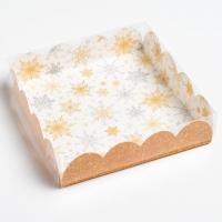 """Коробка для пряников """"Снежинки/Золото"""""""