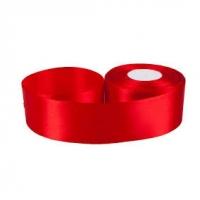 Лента атласная 4 см Красная