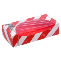 Коробка для сладостей новогодняя с окошком Красная полоска