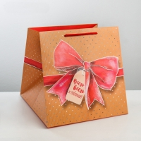 Пакет подарочный новогодний Красный бант