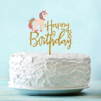 """Топпер """"Happy Birthday"""" с единорогом"""