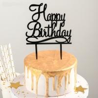 """Топпер акриловый """"Happy Birthday"""" черный"""