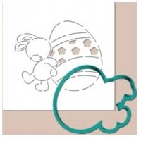 """Вырубка пластиковая с трафаретом """"Зайка с яйцом"""""""