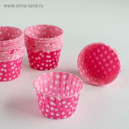 Капсулы маффин 50х40 розовые в белый горох 12 шт