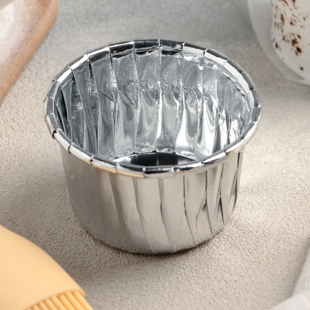 Капсулы маффин 50х40 серебро 6 шт