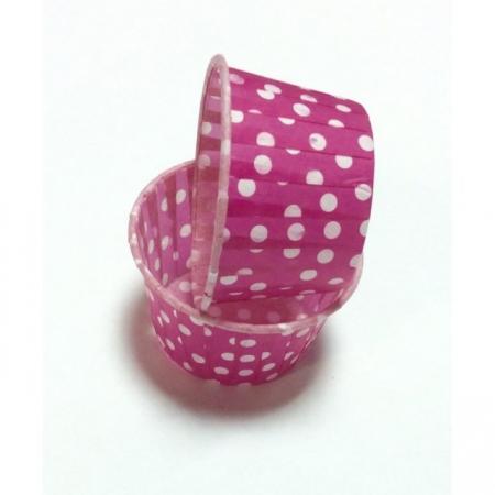 Капсула Маффин 50/40 Розовые в белый горох 100 шт