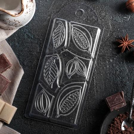 """Форма для шоколадной плитки """"Какао дольки"""""""