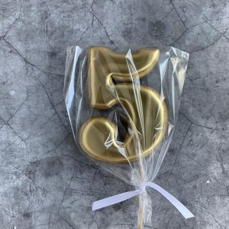 Пряник ЦИФРА 5 золото