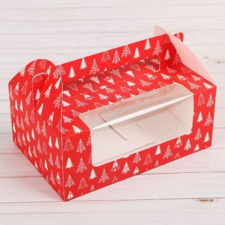 Коробка на 6 капкейков красная с ёлочками