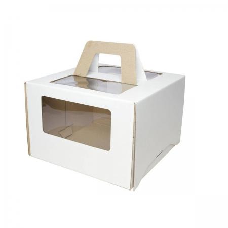 Коробка для торта с окном и ручками 26х26х20