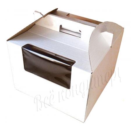 Коробка для торта 30х30х20 с окном и ручками