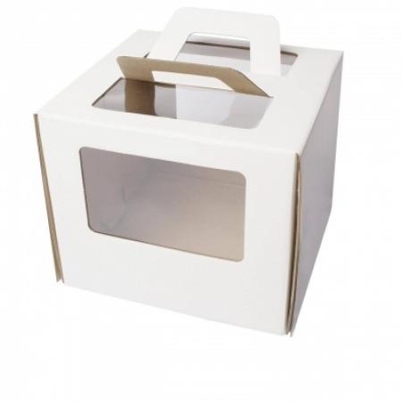 Коробка для торта с окном и ручками 30х30х22
