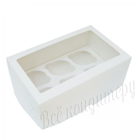 Коробка на 6 капкейков с окном белая