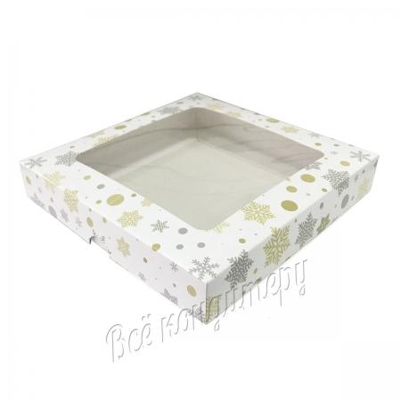 Коробка 21x21x4 см Снежинки