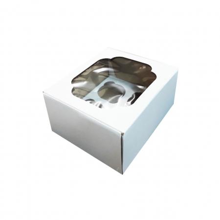 Коробка на 4 капкейка с окном Усиленная