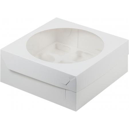 Коробка на 9 капкейков с окошком белая