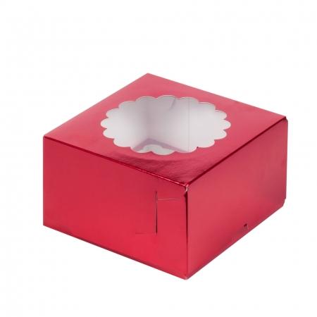 Коробка на 4 капкейка с окошком красная