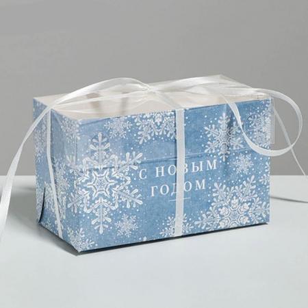 """Коробка на 2 капкейка с пластиковой крышкой """"С Новым годом!"""""""